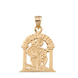 Zodiac Aquarius Pendant Necklace in Solid Gold (Yellow/Rose/White)