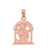 Solid Rose Gold Zodiac Aquarius Pendant Necklace
