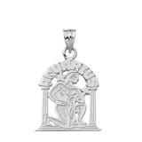 Solid White Gold Zodiac Aquarius Pendant Necklace