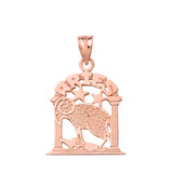 Solid Rose Gold Zodiac Aries Pendant Necklace
