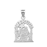 Solid White Gold Zodiac Virgo Pendant Necklace