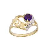 """Yellow Gold Personalized """"Mom"""" Solitaire  Open Heart Ring With Genuine Gemstone"""