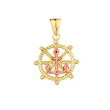 Anchor with Roped Helm in Two Toned Yellow & Rose Gold