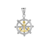 Anchor with Roped Helm in Two Toned White & Yellow Gold