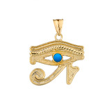 Eye of Horus (Ra) with Turquoise Center Stone Pendant Necklace in Yellow Gold