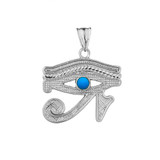 Eye of Horus (Ra) with Turquoise Center Stone Pendant Necklace in Sterling Silver