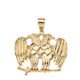 Masonic Double Headed Eagle Pendant Necklace in Solid Gold (Yellow/Rose/White)