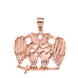Solid Rose Gold Masonic Double Headed Eagle Pendant Necklace