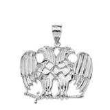Solid White Gold Masonic Double Headed Eagle Pendant Necklace