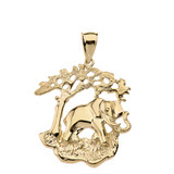 Elephant Tree of Life Pendant Necklace in Solid Gold (Yellow/Rose/White)