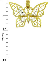 Two-Tone Gold  Papillon Butterfly Charm Pendant