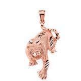 Solid Rose Gold Sparkle Cut Tiger Pendant Necklace