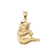 Panda Pendant Necklace in Solid Gold (Yellow/Rose/White)