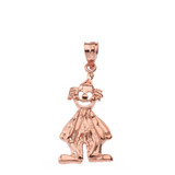 Solid Rose Gold Auguste Clown Pendant Necklace