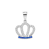 Solid White Gold Radiant Blue Cubic Zirconia Royal Crown Pendant Necklace