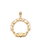 Solid Yellow Gold Claddagh Wreath Pendant Necklace