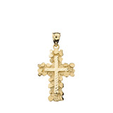 Nugget Cross Pendant Necklace (Medium) in Solid Gold (Yellow/Rose/White)