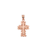 Solid Rose Gold Nugget Cross Pendant Necklace (Small)
