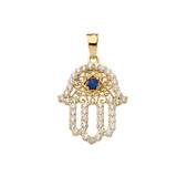 Chic Diamond & Blue Sapphire Hamsa Pendant Necklace in Yellow Gold