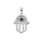 Chic Diamond & Blue Sapphire Hamsa Pendant Necklace in White Gold