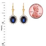Princess Diana Inspired Halo LC Sapphire & Diamond Earrings in 14K Yellow Gold