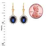 Princess Diana Inspired Halo LC Sapphire & Cubic Zirconia Earrings in 14K Yellow Gold