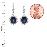 Princess Diana Inspired Halo LC Sapphire & Cubic Zirconia Earrings in 14K White Gold