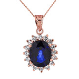 Princess Diana Inspired Elegant Diamonds and September Sapphire (LCS) Earrings and Pendant Necklace Set in 14K Rose Gold