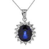Princess Diana Inspired Elegant Diamonds and September Sapphire (LCS) Earrings and Pendant Necklace Set in 14K White Gold