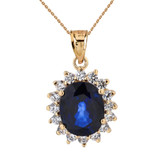 Princess Diana Inspired Elegant Cubic Zirconia and September Sapphire (LCS) Earrings and Pendant Necklace Set in 14K Yellow Gold