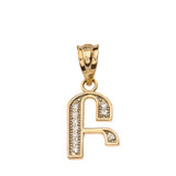 "Solid Yellow Gold Armenian Alphabet Diamond Initial ""B"" or ""P"" Pendant Necklace"