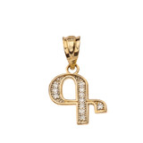 """Solid Yellow Gold Armenian Alphabet Diamond Initial """"G"""" or """"K"""" Pendant Necklace"""