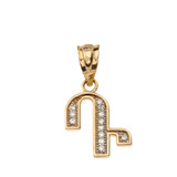 """Solid Yellow Gold Armenian Alphabet Diamond Initial """"D"""" or """"T"""" Pendant Necklace"""