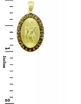 Gold Religious Pendants - The Saint Christopher Protect Us Oval Yellow Gold Pendant