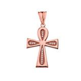Diamond Sacred Ankh Cross Pendant Necklace in Rose Gold