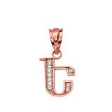 "Solid Rose Gold Armenian Alphabet Diamond Initial ""E"" Pendant Necklace"
