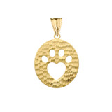 Cut-Out Paw Print Pendant Necklace in Yellow Gold