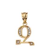 "Solid Yellow Gold Armenian Alphabet Diamond Initial ""Z"" Pendant Necklace"