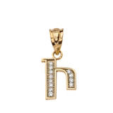 "Solid Yellow Gold Armenian Alphabet Diamond Initial ""I"" Pendant Necklace"