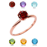 Rose Gold Garnet  Dainty Solitaire Engagement Ring