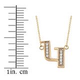 "14K Solid Yellow Gold Armenian Alphabet Diamond Initial ""G"" Necklace"