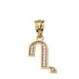 "Solid Yellow Gold Armenian Alphabet Diamond Initial ""Gh"" Pendant Necklace"
