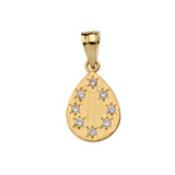 Yellow Gold Hammered Diamond TearDrop Pendant Necklace