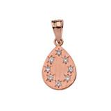 Rose Gold Hammered Diamond TearDrop Pendant Necklace