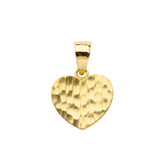 Hammered Heart Pendant Necklace in Gold (Yellow/Rose/White)