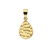 Hammered TearDrop Pendant Necklace in Gold (Yellow/Rose/White)