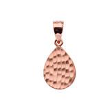 Rose Gold Hammered TearDrop Pendant Necklace