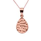 Rose Gold Hammered TearDrop Pendant Necklace Set