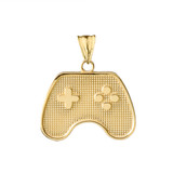 Game Control Pendant Necklace in Yellow Gold