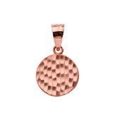 Rose Gold Hammered Round Pendant Necklace